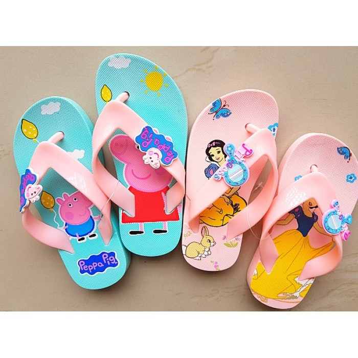 8bb4e7822b5d1 Disney princess Peppa Pig Girls Summer 3d Flipflops- size 24-30