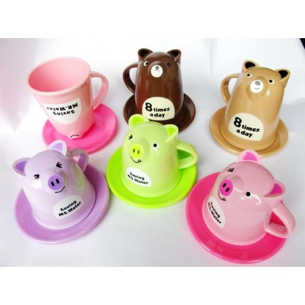 Cartoon Animal Pig Mugs Cup With Saucer- assorted