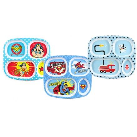 Bumkins melamine Divided Plates- Superman, Wonderwoman, Firetruck
