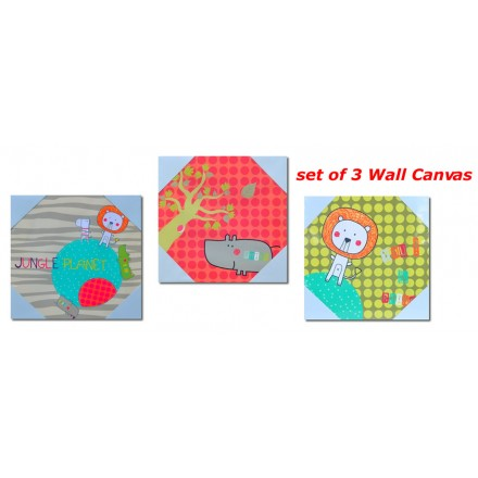 Kids Room Canvas Wall Art- Jungle Planet - 3 designs  Set- 20cm x 20cm
