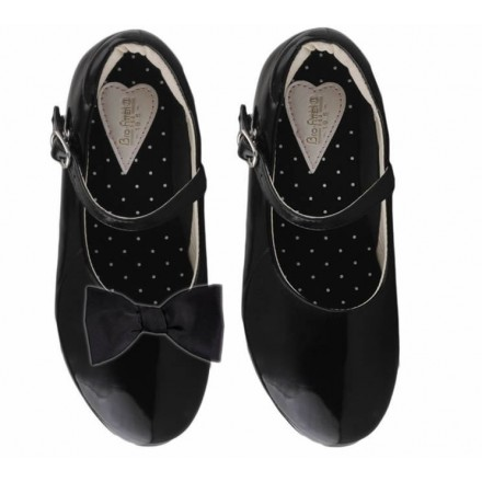 Bro-Fitter Girls Shoes With Detachable Bow - Black- Size 29, 30, 31, 32