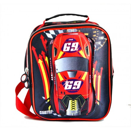Boys Racer Red 3d Insulated Lunch bag with backstraps