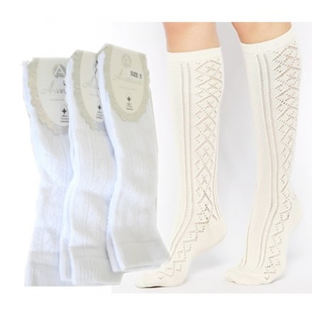 Girls Premium White Long Socks- Made in Turkey (size 3-10yrs)
