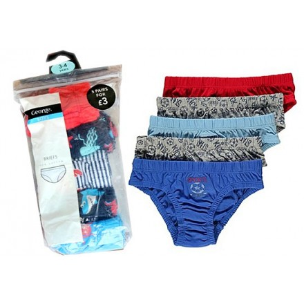 George 5 Pack Assorted Briefs - 2-3yrs, 3-4yrs, 5-6yrs