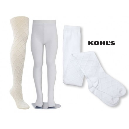 KOHLS Girls Diamond/ Solid Knit White Tights (2T-4T)