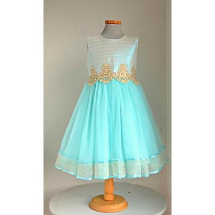 ERFA Girls Cord Ball Dress- 2 colours- Turquoise & Peach (3-7yrs)