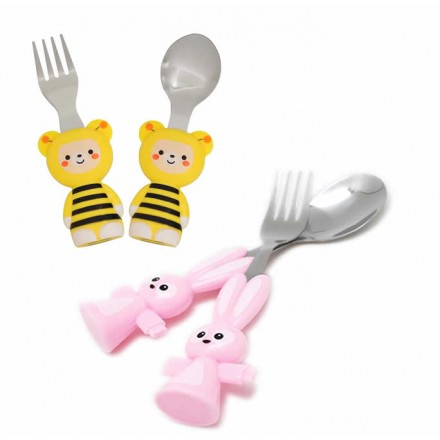 Kids Cartoon Cutlery Set- 2pcs- assorted characters