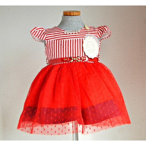 Miss Dolphin Baby Girls Occasion dress (3-12mths- RED/WHITE