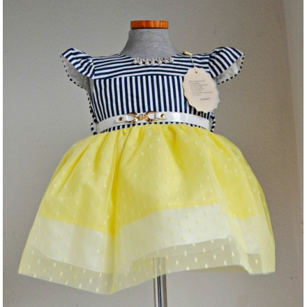 Miss Dolphin Baby Girls Occasion dress (3-12mths- YELLOW/BLUE