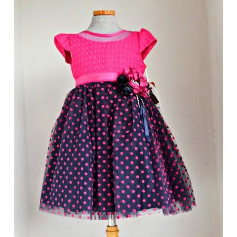 Girls Wear Turkiye Fuschia Dot Occassion Dress (18mths-4yrs)