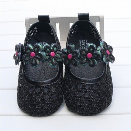 Baby Girl Fancy Crochet Prewalker Shoes- Size 3-6mths, 6-9mths, 9-12mths