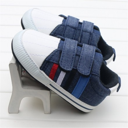 Baby Boys Denim Double Touch Strap Casual Prewalkers- Size 0-9mths