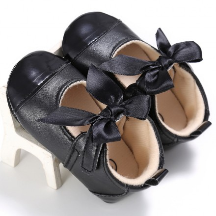 Baby Girl Black Bow Prewalkers (0-9mths)