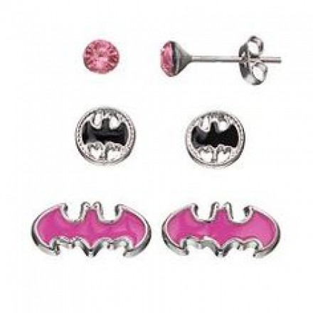 DC Comics Batgirl Kids'  3 Stud Earring & Keepsake Jewelry Box Set