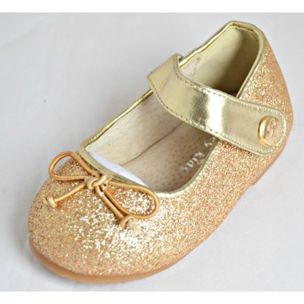 Mooney Kids Baby Girl Gold Shimmer Shoes- EUR Size 18-24