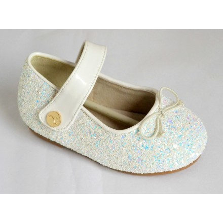 Mooney Kids Baby Girl White Shimmer Shoes- Size 23