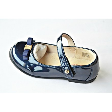 Belle Girls Occassion Patent Shoes- 28, 30- Dark Blue