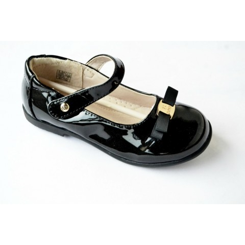 Belle Girls Occassion Patent Shoes- 26, 27- Black