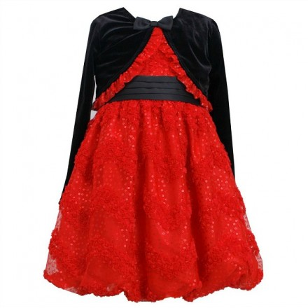 Jessica Ann Red & Black Sequin Shrug Set- 2yrs