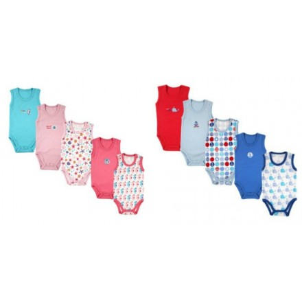 Juniors Infant Sleeveless Bodysuits- 0-3, 3-6, 6-12mths