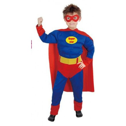 Boys Deluxe Padded Muscle Chest Superman Costume - 2-6yrs
