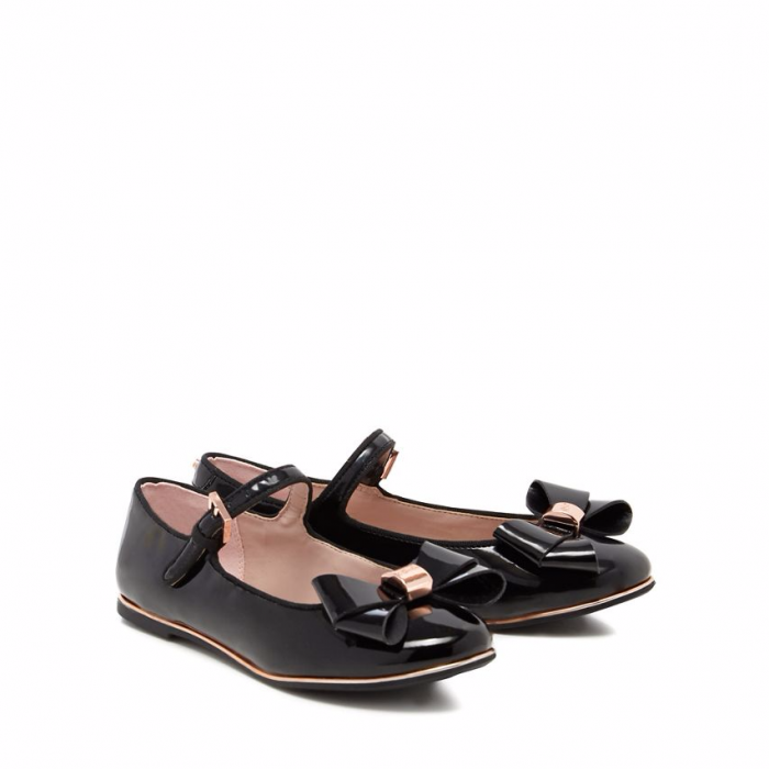 de328e854 Baker by Ted Baker - Girls  black patent bow pumps- UK 8