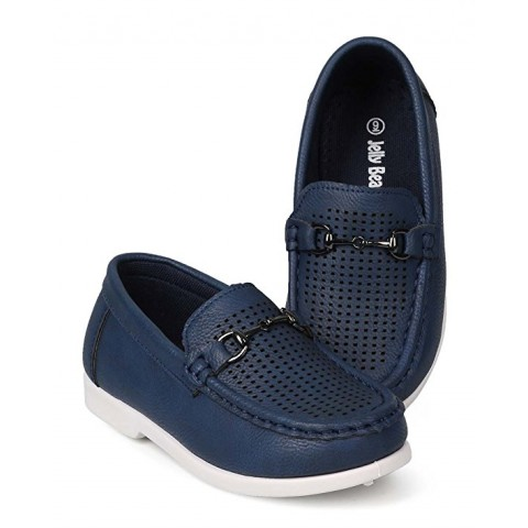 Jelly beans Leatherette Round Toe Perforated Chain Slip On Loafer - Navy- Size US 4