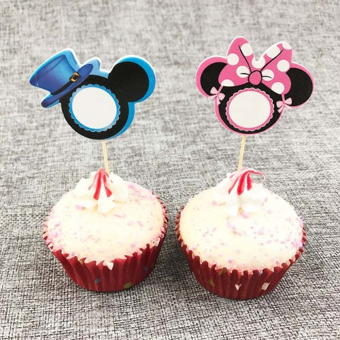 Mickey/Minnie Mouse Cupcake Toppers- Pack of 8