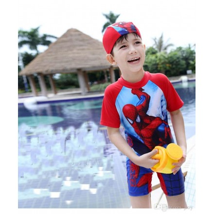 Boys 2pc Spiderman Boys Swim Set with Cap