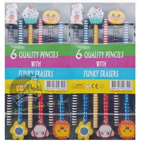 Colourful wooden pencils with funky eraser toppers