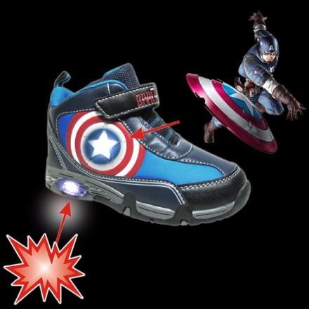 Boys Captain America Luminous High Top Led Shoes - Size 26, 27, 32
