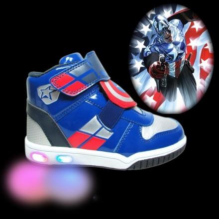 Boys Captain America Luminous High Top Led Shoes - Size 25-32