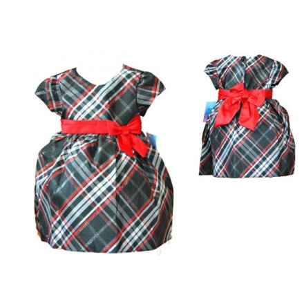 La Princess Baby Girl Holiday Plaid Dress- 12mths-24mths