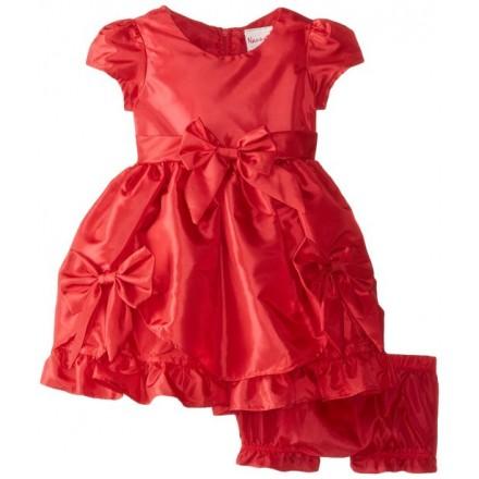 Nannette Infant Red Bow Cap-Sleeve Dress- 2pcs set - 6-9mths