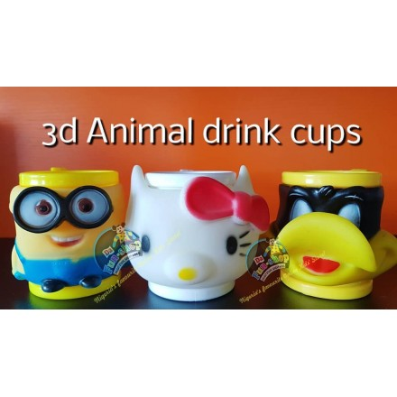 3d Animal  Drink Cup-minions,hello kitty & ducky