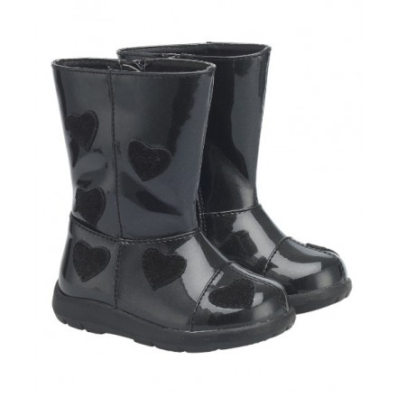 Mothercare Baby Girl  First Walker Black Patent Boots- UK 5, 7 / EUR Size 22/24
