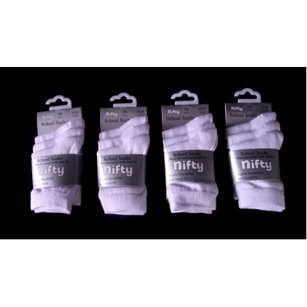NIFTY 3 pack SCHOOL SOCKS (UK Shoe Size 3-5.5 / 6-8.5/9-12/ 4-6)