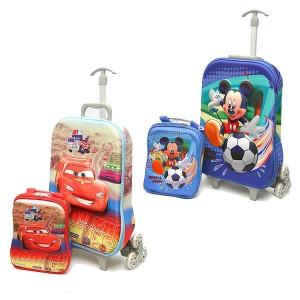 Boys 3d EVA Trolley & Lunch Bag Set- Cars, Mickey
