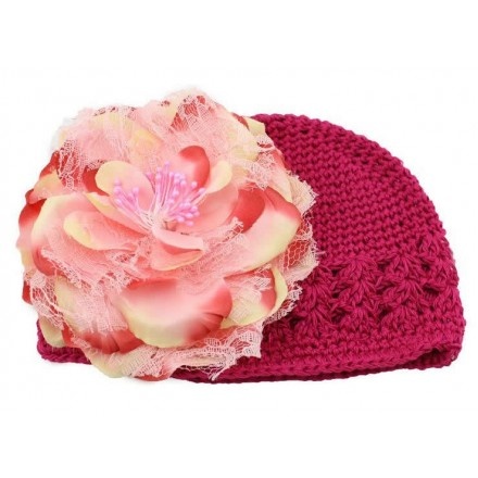 Girl's Cute Crochet Beanie Hat with Daisy Flower -assorted colours