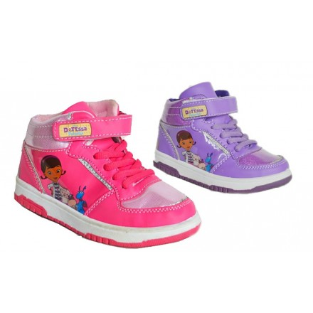 DOC Mcstuffins Hi-Top Trainers size 25-30 (Pink, Purple)