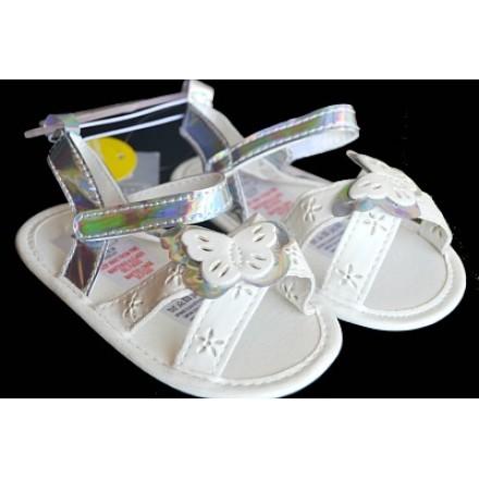 Baby Girl White & Silver Butterfly Prewalker sandals (3, 4)(9mths, 12mths)
