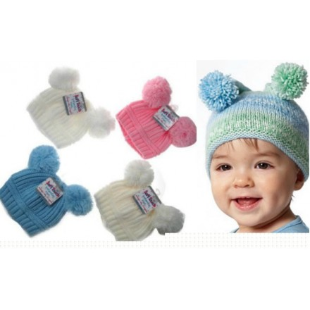SOFT TOUCH Baby Ribbed Pom-Pom Hats 0-12mths (3 colours)