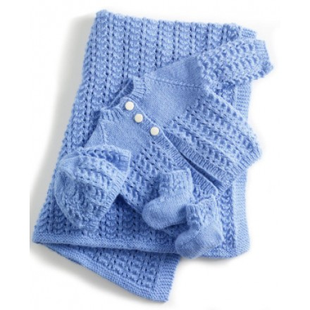Baby Newborn Knit Layette Gift set (Shawl, Booties,Hat,Cardigan)- 3 colours