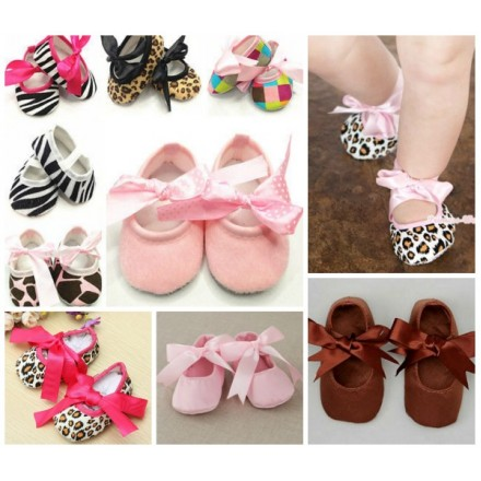 Baby Girls Funky Ribbon Prewalker Shoes- assorted designs (3-9mths)
