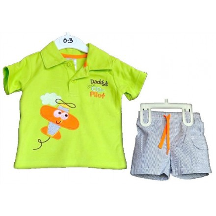 Daddy's Co-Pilot Baby Boy 2pcs Tee & Shorts Set (6-9mths)