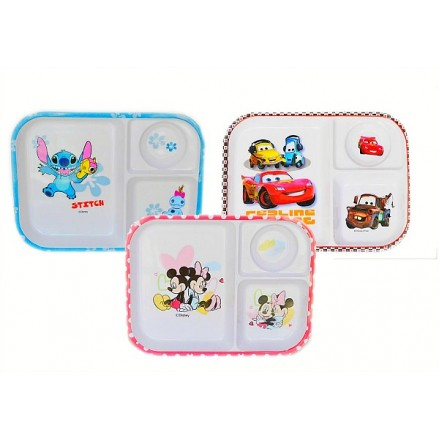 Cartoon Melanine Section Food Tray- Mickey, cars, Lilo
