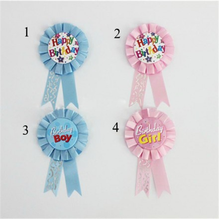 Happy Birthday Award Ribbon- Blue, Pink