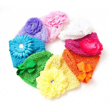 Baby Crochet Baby Beanie Waffle Hats - assorted colours