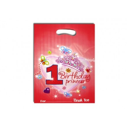 1st Birthday Princess party Loot bags- 6pcs