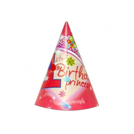 1st Birthday Princess Party Hat (Set of 6)